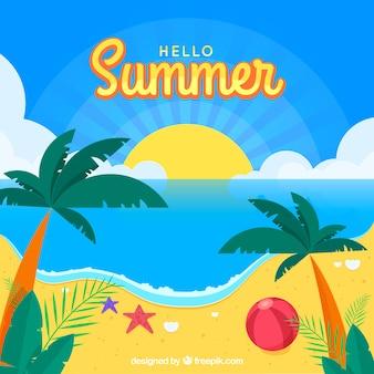 Fond de l'été avec vue sur la plage et les palmiers