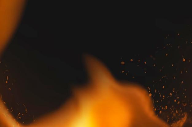 Fond d'étincelles de feu, bordure de flamme réaliste, vecteur d'espace design noir