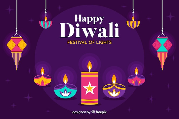 Fond d'événement culturel plat diwali