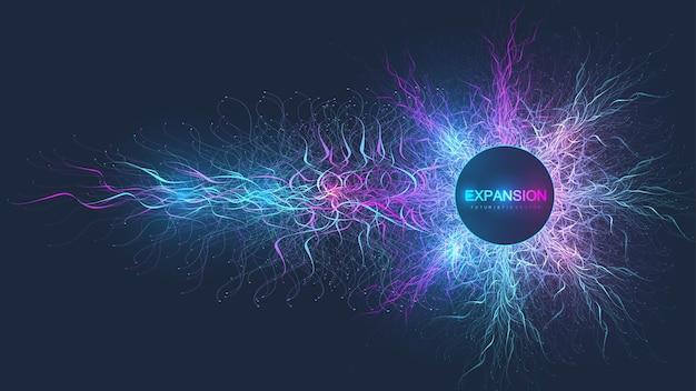 Fond d'explosion colorée avec ligne connectée et points