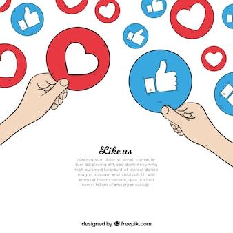 Fond facebook avec coeur et comme des icônes