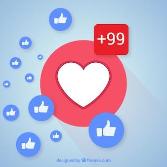 Fond facebook avec des coeurs et des goûts