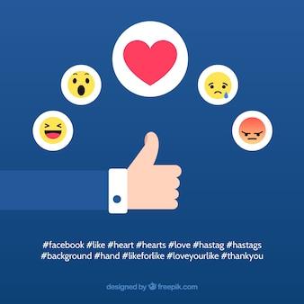 Fond facebook avec des goûts et des coeurs
