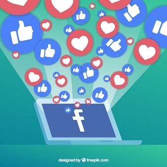 Fond facebook avec des icônes
