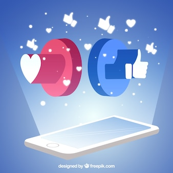 Fond facebook avec un téléphone mobile