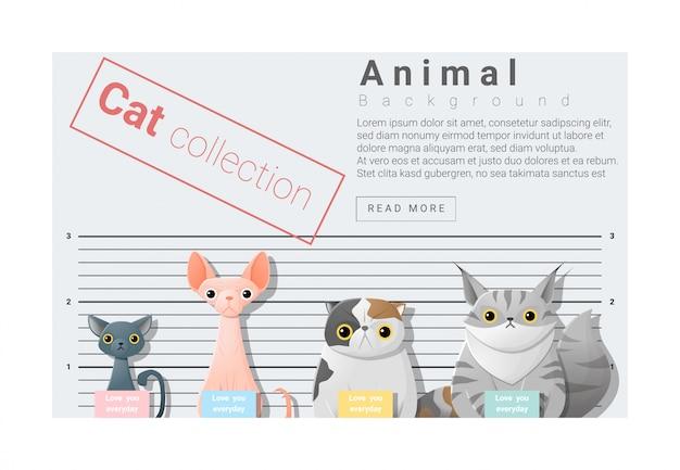 Fond De Famille Animal Mignon Avec Des Chats Vecteur Premium