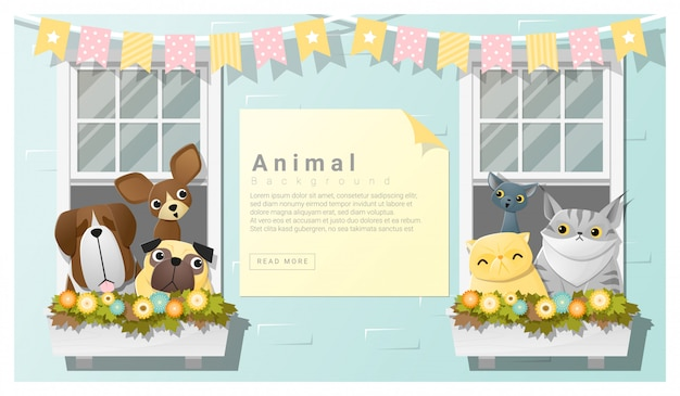 Fond de famille animal mignon avec des chiens et des chats