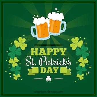 Fond fantastique avec des bières et des trèfles pour célébrer le jour de st patrick