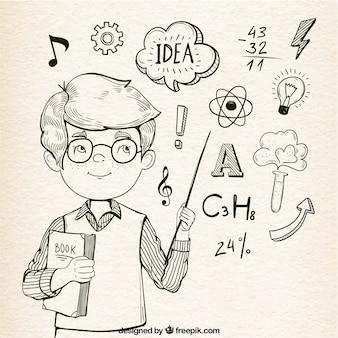 Fond fantastique de gamin intelligent avec des éléments d'apprentissage