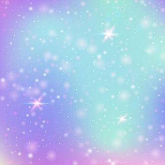 Fond de fée avec maille arc-en-ciel. bannière de l'univers kawaii aux couleurs de princesse. toile de fond dégradé fantaisie avec hologramme. fond de fée holographique avec des étincelles magiques, des étoiles et des flous.