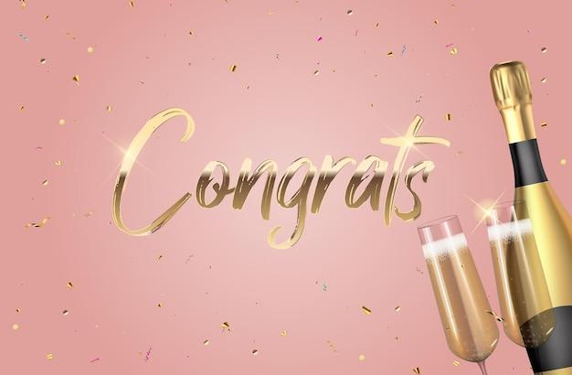 Fond de félicitations 3d réaliste avec une bouteille de champagne et un verre