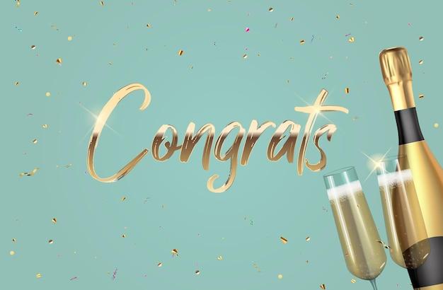 Fond de félicitations 3d réaliste avec une bouteille de champagne et des verres