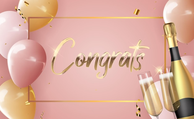 Fond de félicitations ballon 3d réaliste avec une bouteille de champagne et un verre