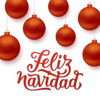 Fond feliz navidad avec des boules de noël rouges