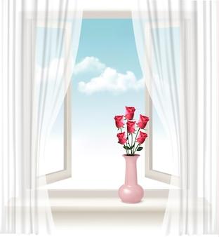 Fond avec une fenêtre ouverte et un vase avec des roses.