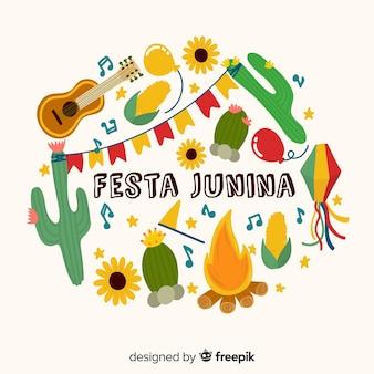 Fond de festa junina dessinés à la main