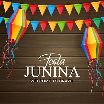 Fond de festa junina avec des drapeaux de fête et des lanternes