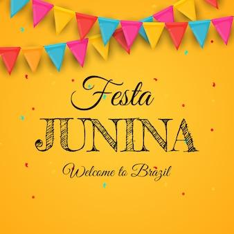 Fond de festa junina avec des drapeaux de fête.