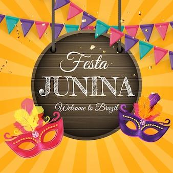 Fond de festa junina avec des drapeaux de fête