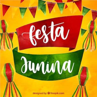Fond de festa junina avec des éléments aquarelles