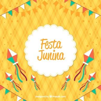 Fond de festa junina avec des éléments colorés