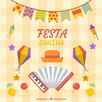 Fond de festa junina avec des éléments plats