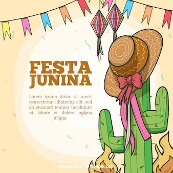 Fond de festa junina avec des éléments traditionnels