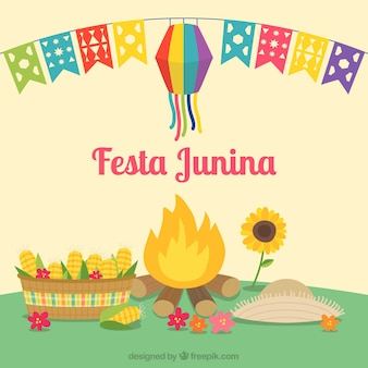 Fond de festa junina avec feu de camp