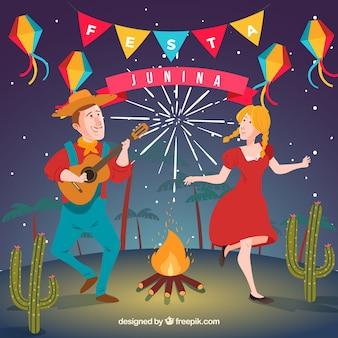 Fond de festa junina avec des gens qui dansent dans la nuit