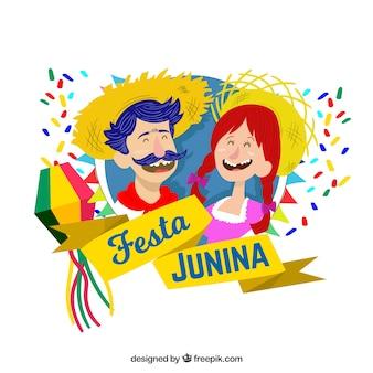 Fond de festa junina avec des gens souriants