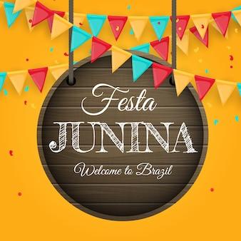 Fond de festa junina avec guirlande de drapeaux.