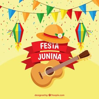 Fond de festa junina avec guitare plate