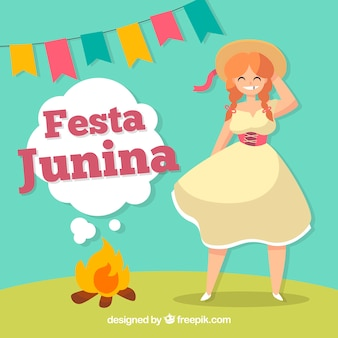 Fond de festa junina avec jolie fille