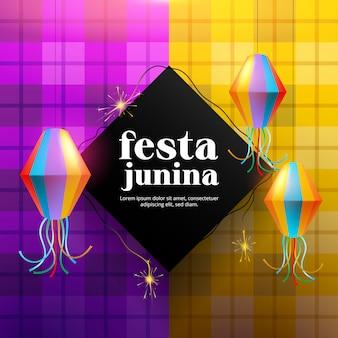 Fond de festa junina avec lampe en papier et feux d'artifice