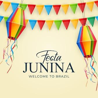 Fond de festa junina avec lanterne de drapeaux de fête