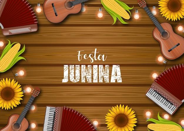 Fond de festa junina avec maïs, épis, tournesols, accordéons, guitares et ampoules
