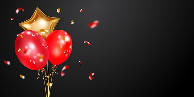Fond festif avec des ballons à air dorés et rouges et des morceaux brillants de serpentine. illustration vectorielle pour affiches, flyers ou cartes.