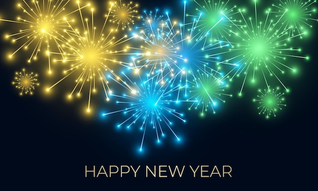 Fond festif du nouvel an avec feux d'artifice et lumières de célébration scintillantes