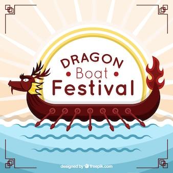 Fond de festival de bateau de dragon dans le design plat