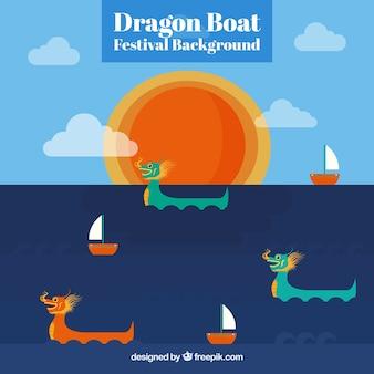 Fond de festival de bateau de dragon avec le soleil et les nuages