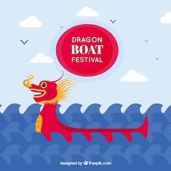 Fond de festival de bateau de dragon avec des vagues