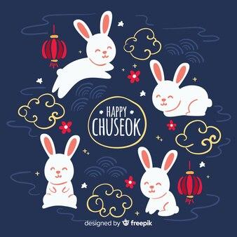 Fond de festival de chuseok dessiné à la main
