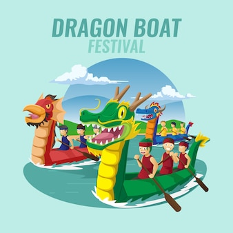 Fond de festival de course de bateau dragon