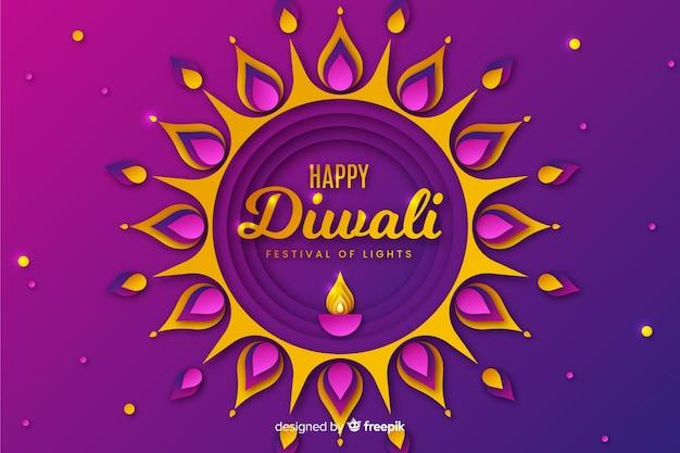 Fond de festival de diwali dans le style de papier