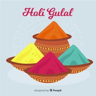 Fond de festival gulal holi dessiné à la main