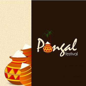 Fond de festival heureux pongal - vecteur