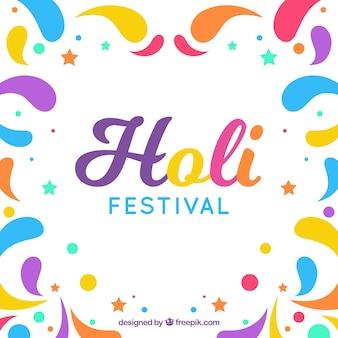 Fond de festival holi au design plat