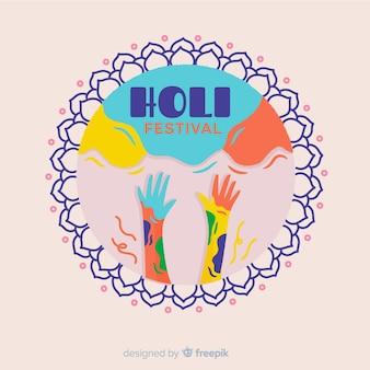 Fond de festival holi dessiné à la main