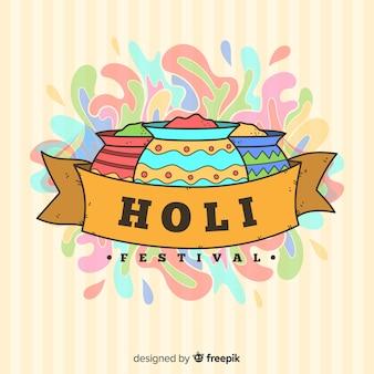 Fond de festival holi ruban dessiné à la main