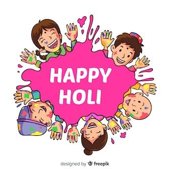Fond de festival holi spot dessiné à la main